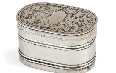 A George III silver nutmeg grater, Birmingham, c.1808, Joseph Willmore, one pull-off cap deficient, of oblong form with steel grater and reeded banding to body, the cap with engraved decoration, length 3.3cm, gross weight approx. 0.4oz