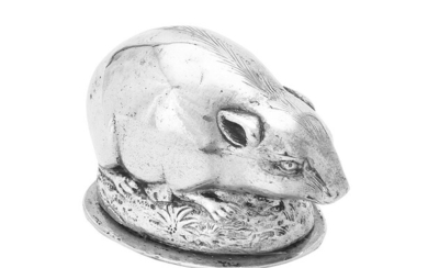 A German silver coloured mouse box