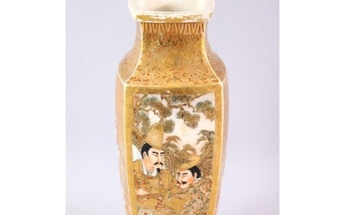 A JAPANESE MEIJI PERIOD SATSUMA SQUARE FORMED VASE, with dec...