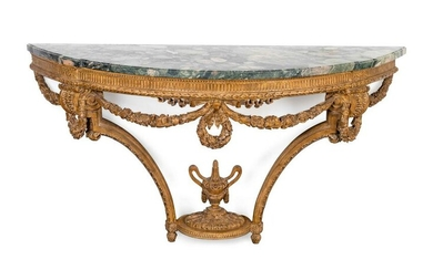 A Louis XVI Style Carved Wood Console