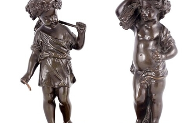A PAIR OF 19TH CENTURY FRENCH BRONZE PUTTI standing on squar...