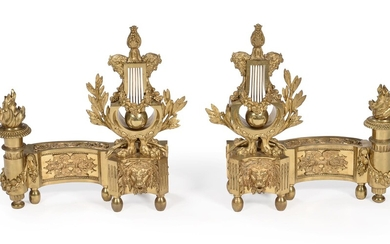 A PAIR OF FRENCH ORMOLU CHENETS, IN LOUIS XVI STYLE, LATE 19TH CENTURY