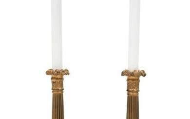 A Pair of French Gilt Metal Candlesticks Mounted as