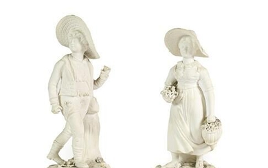 A Pair of Rockingham Bisque Porcelain Figures of the Swiss...