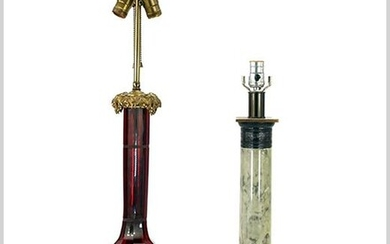 A Ruby Glass and Gilt Metal Table Lamp.