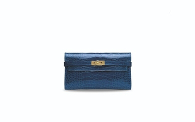 A SHINY BLEU IZMIR & BLEU SAPHIR ALLIGATOR VERSO KELLY WALLET WITH GOLD HARDWARE