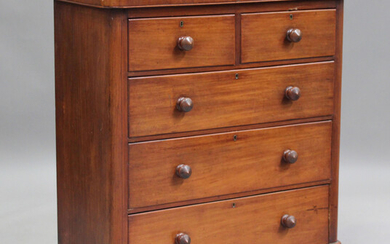 A Victorian mahogany chest of oak-lined drawers, height 112cm, width 103cm, depth 48cm.