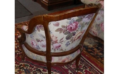 A late 19th century French carved walnut and floral tapestry...