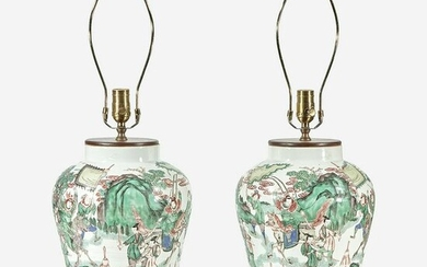 A pair of Chinese famille verte-decorated jars