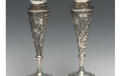 A pair of Chinese silver trumpet shaped vases, pierced and c...