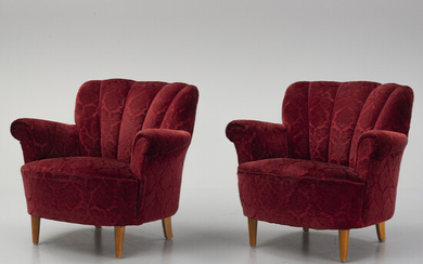 A pair of Swedish Modern easy chairs, 1940's.