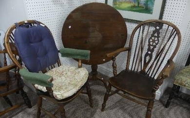 A pair of antique ash and elm Windsor wheel-back Armchairs, ...