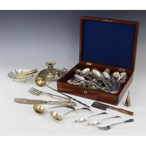 A selection of silver plated, white metal and EPNS cutlery a...