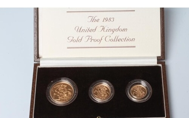 AN ELIZABETH II GOLD PROOF THREE COIN COLLECTION, 1983, comp...