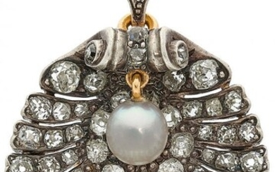 Antique Diamond, Cultured Pearl, Silver-Topped Gold