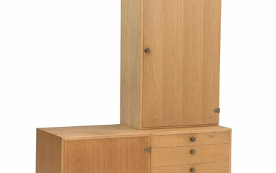 """NOT SOLD. Børge Mogensen: """"Øresund"""". Two cabinets and a chest of drawers, two mounted on..."""