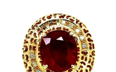 Certified 14K Gold Ruby Composite & Diamond Ring