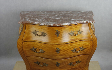 Chest of drawers, mid-20th century, rococo style, veneered in teak, marquetry decor, profiled marble top.