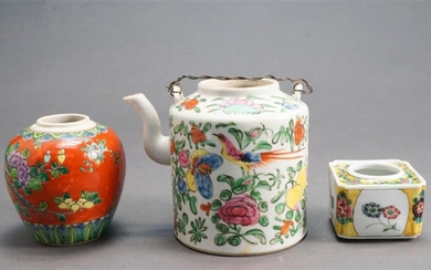 Chinese Famille Rose Enamel Decorated Porcelain Teapot (no lid), Tea Caddy (no lid) and Brush Pot
