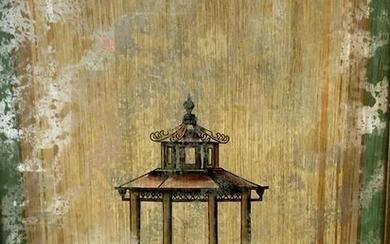 Chinese Pagoda Painting on Mirrored Surface