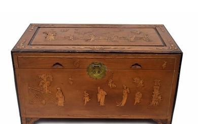 Chinese camphorwood chest, decorated with applied figures in...