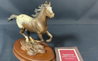 Cold painted cast bronze figure of horse on base by Franklin...