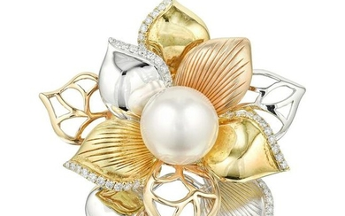 Diamond and Cultured Pearl Flower Ring
