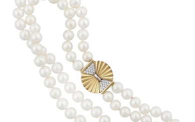 *FRESHWATER PEARL WITH DIAMOND AND GOLD CLASP