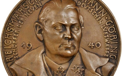 GERMANY. Third Reich. Reichsmarshall Hermann Goering Cast Bronze Medal, 1940. ALMOST UNCIRCULATED.
