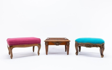 GROUP 3, FRENCH CARVED WOODEN DIMINUTIVE TABORETS