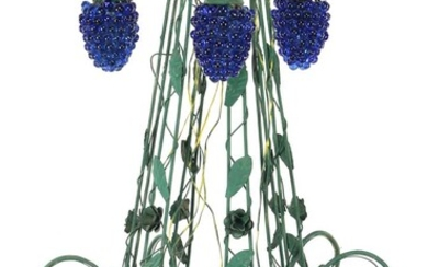 (-), Green lacquered wrought iron 10-light hanging lamp...