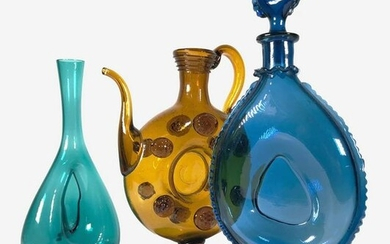 Group Of Vintage Colored Glass Objects, 1960s