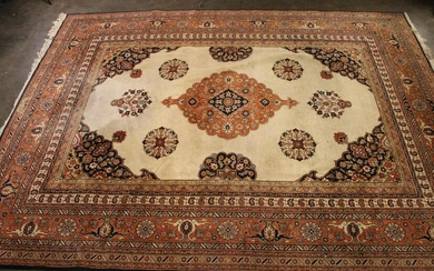 HAND KNOTTED PERSIAN ORANGE AND BLUE RUG
