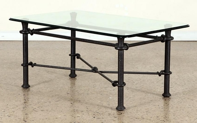 IRON GLASS TOP COFFEE TABLE MANNER OF GIACOMETTI