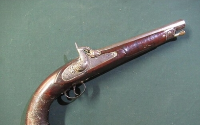 Large 19th C eastern made percussion cap pistol with 9.5inch...