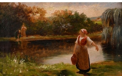 Late 19th century French school, Washerwoman collecting wate...