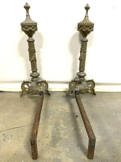 Pair Antique Gold Toned Brass Andirons
