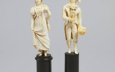 Pair of French Carved Ivory Courting Figures, probably