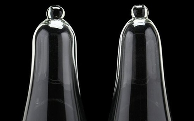 Pair of Large Handblown Glass Cloches