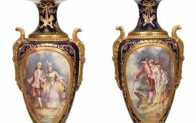 Pair of Sevres Bronze Mounted Porcelain Urns