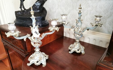 Pair of painted metal two branch table candelabra in the Fre...
