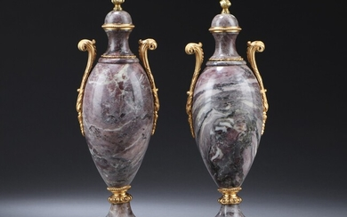 A pair of French Louis XVI marble vases with bronze mounting, 18th-19th century (2)
