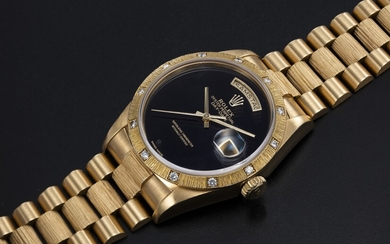 ROLEX, A GOLD OYSTER PERPETUAL DAY-DATE WITH DIAMOND BEZEL AND ONYX DIAL, REF. 18108