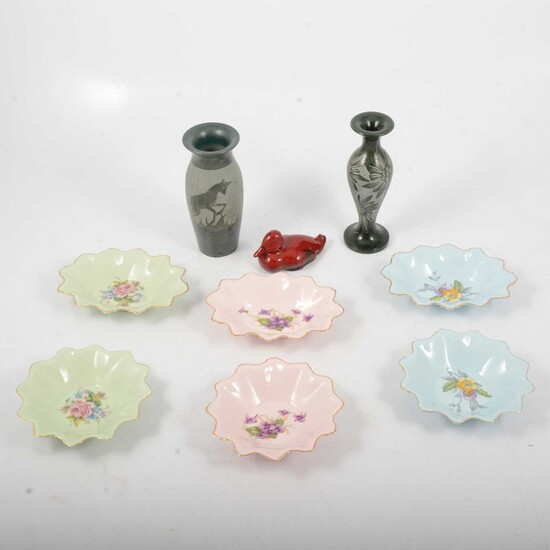 Royal Doulton Flambe duck, Adderley Floral trinket dishes and hand-carved spill vases.