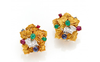 STAURINO Bi-coloured gold and diamond floral earrings finished with cabochon emeralds, sapphires and rubies, g 25.31 circa, length cm 2.70…Read more