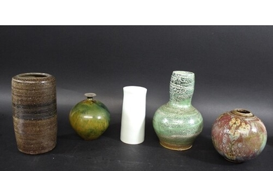STUDIO POTTERY including a St Ives cylindrical vase, with se...