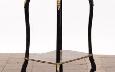 Side table / table with inlays, wood, brass.