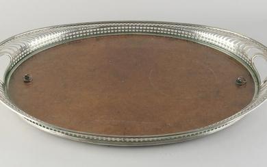 Silver tray with wood