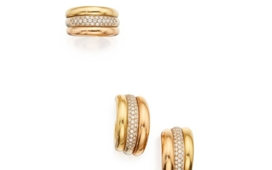 Three-Color Gold and Diamond Ring and Pair of Earclips, Cartier