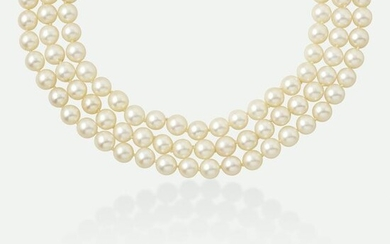 Three-strand cultured pearl necklace